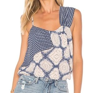 Free People Printed Overlay Blouse